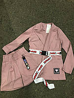 Костюм для девочки с высокими шортами и жакетом 128-134 р