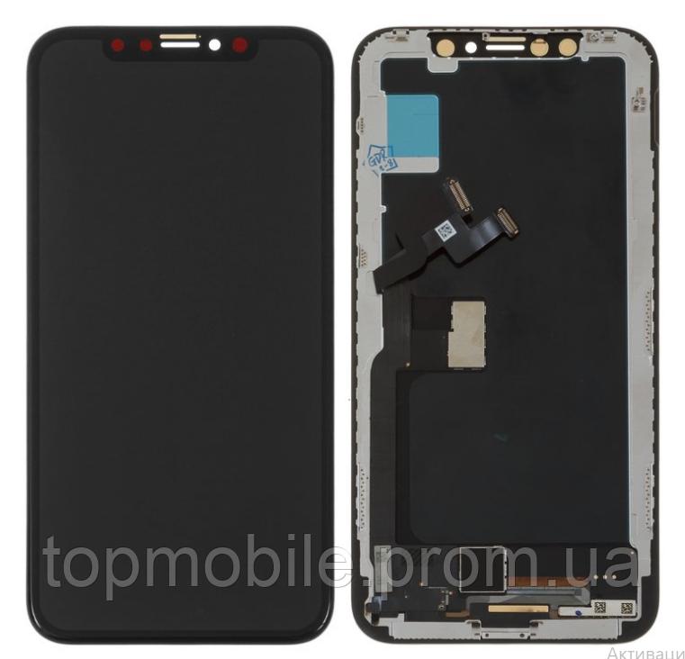 Дисплей для iPhone X + touchscreen, черный, копия , (TFT)