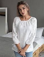 """Блуза вишита на льоні  """"Дивоцвіт"""" молочний колір"""