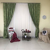 Шторы в комнату из жаккарда ALBO 150x270 cm (2 шт) Салатовые(SH-С32-8), фото 1