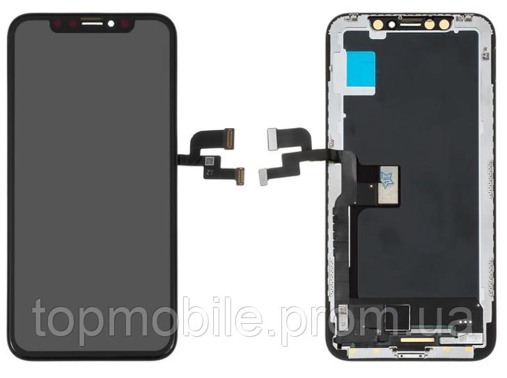 Дисплей для iPhone X + touchscreen, черный, копия высокого качества,  OLED, GX OEM soft
