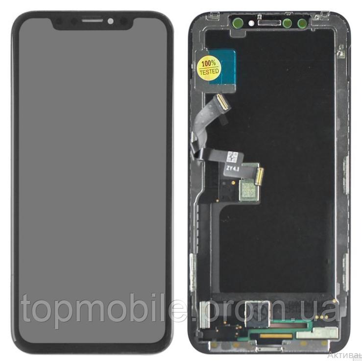 Дисплей для iPhone X + touchscreen, черный, копия высокого качества,  OLED, ZY OEM hard