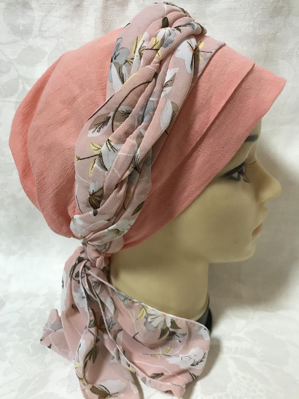 Летняя  хлопковая бандана-шапка-косынка цвет персиковый и розовый