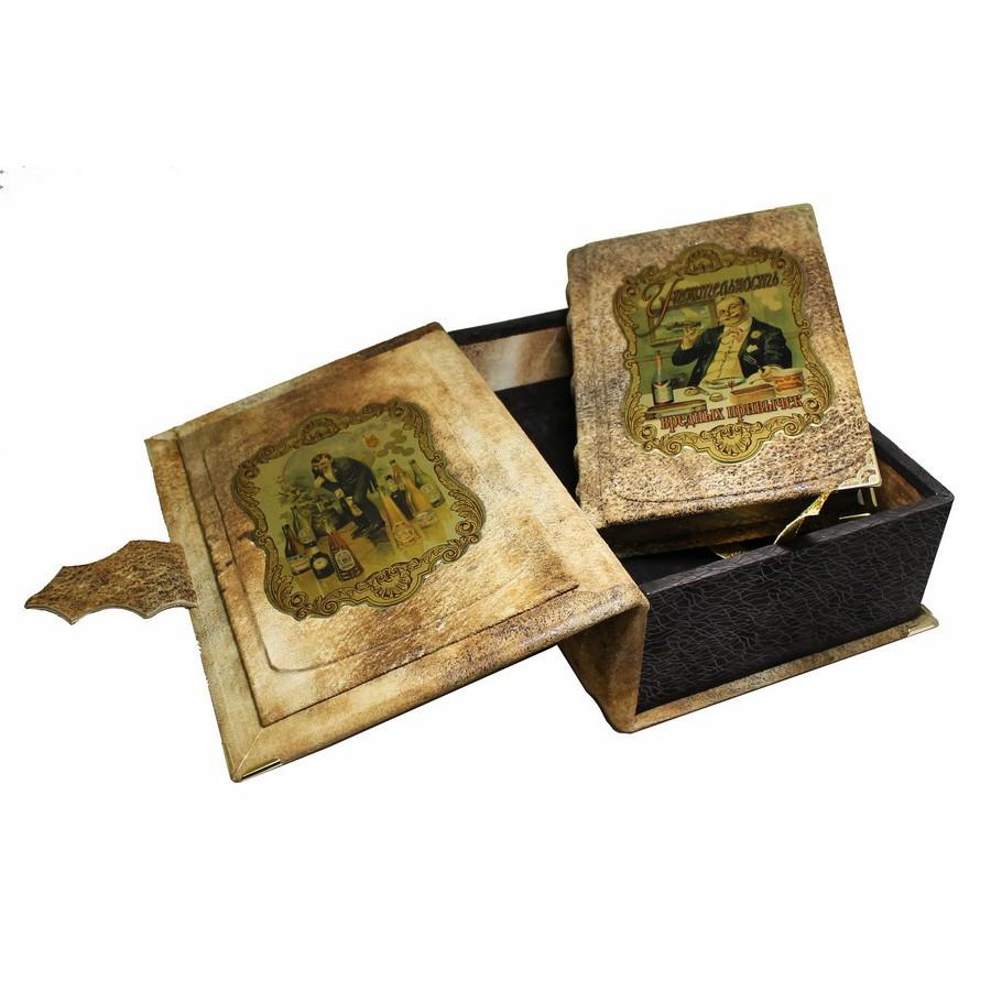 """Книга в кожаном переплете и подарочном коробе с тайником """"Упоительность вредных привычек"""""""