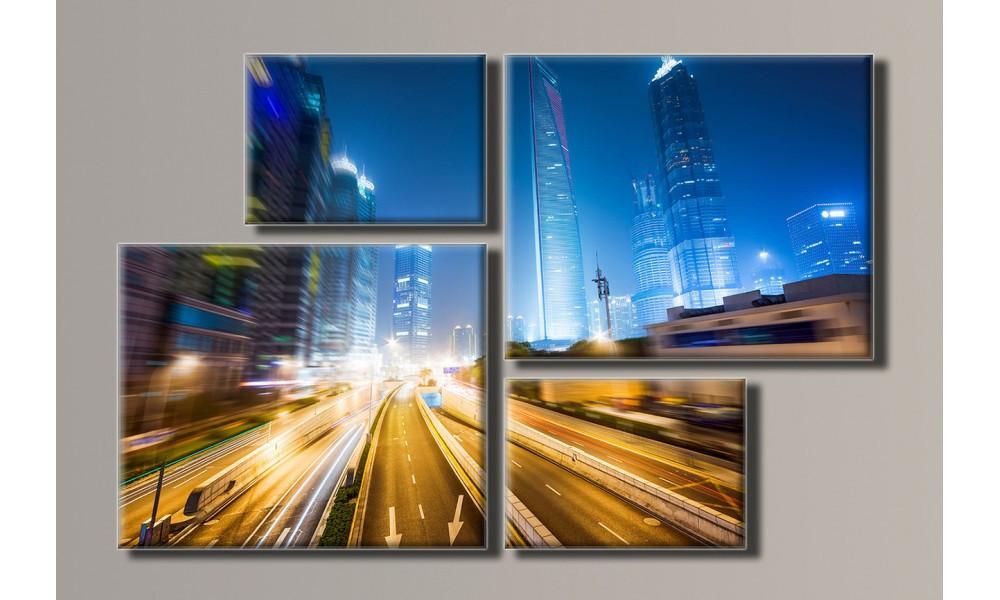 Модульная картина Ночной город 69х106 см (HAF-031)