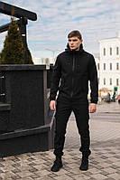 Мужской костюм черный демисезонный Softshell Intruder. Куртка мужская черная, штаны утепленные. Ключница в подарок