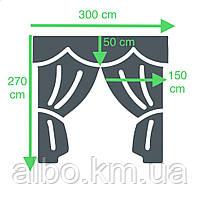Комплект шторы в спальню ALBO 150х270cm (2 шт) и ламбрекен бордовый (LS-215-20), фото 2