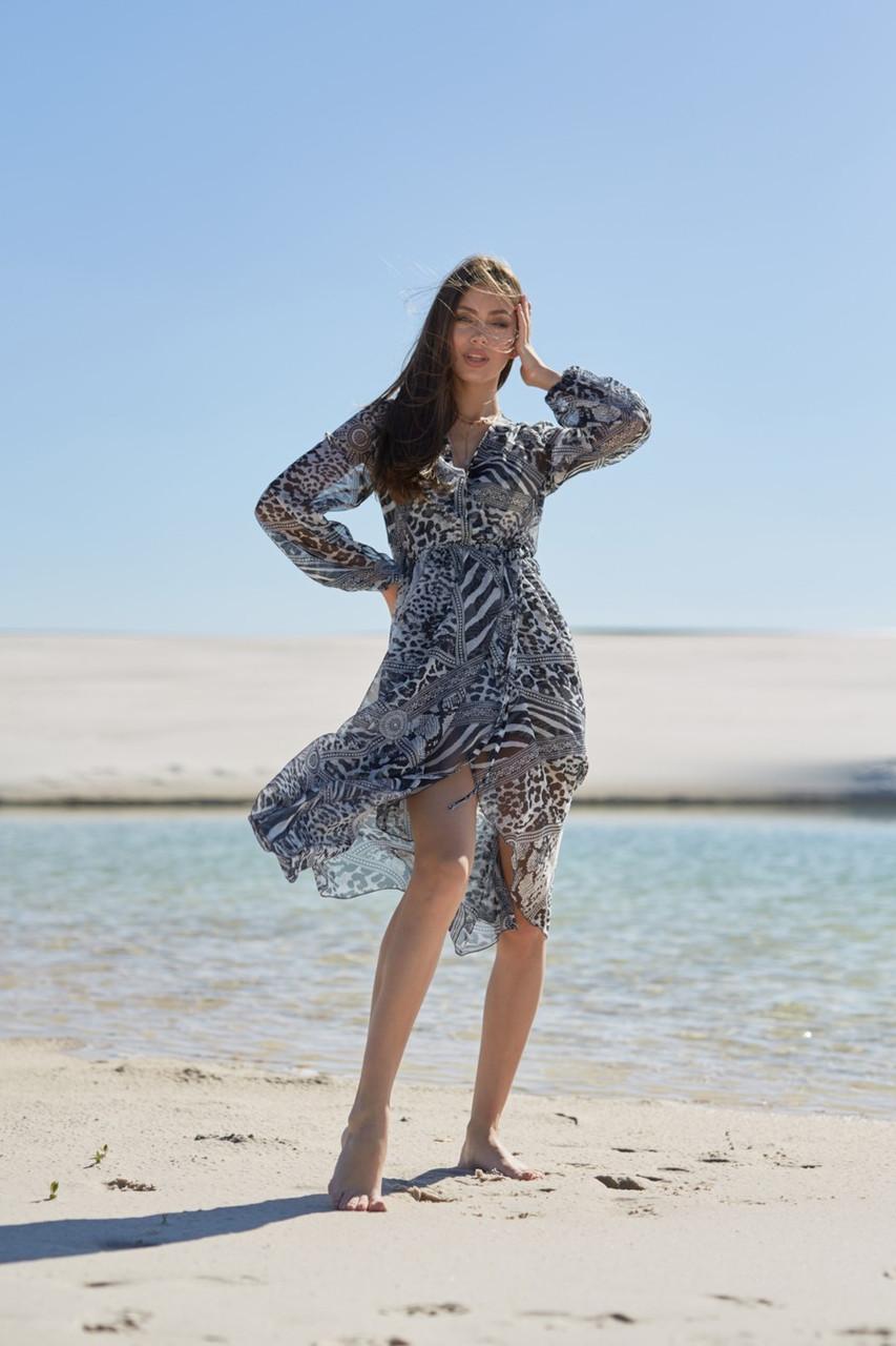 Пляжный халат Ora M Черно-белый (61212)