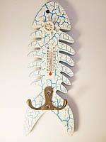 Деревянная декоративная ключница вешалка для ключей на 2 крючка с термометром морской стиль рыбка