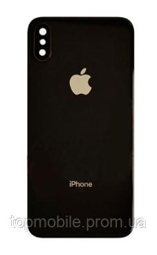 Задняя крышка для iPhone X, черная, оригинал (Китай), в комплекте стекло камеры