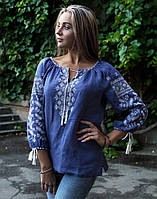 """Вишита блуза жіноча лляна """"Колоскова"""" розмір"""