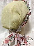Летняя  хлопковая бандана-шапка-косынка желтая и желтая  с красным, фото 3