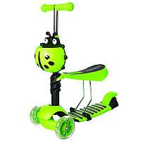 Детский самокат с сиденьем, корзинкой и Led колесами JR 3-054-E до 50 кг
