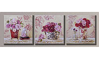 Модульная картина Чайные розы-2 40х126 см (HAT-158)