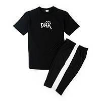 Комплект футболка черная DNK MAFIA + шорты черные с белым лампасом