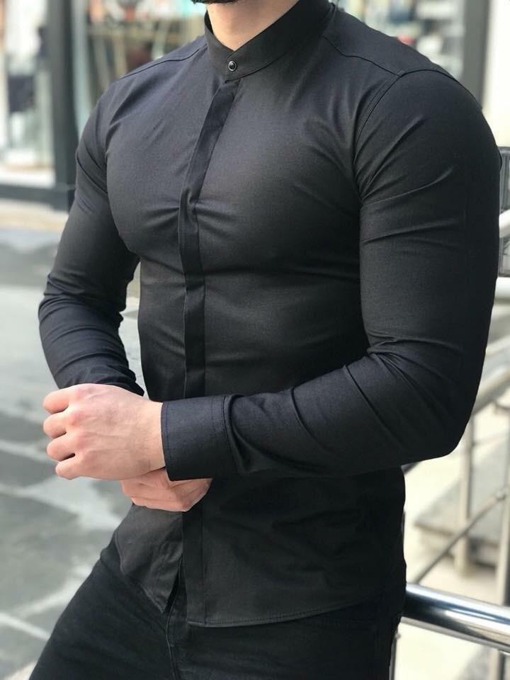 Мужская Рубашка Черная Ruff 02