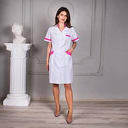 Женский медицинский халат Анна белый с розовими вставками