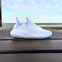 Белые кроссовки носки в стиле balenciaga текстильные в стиле высокие летние без шнурков мужские