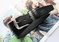Мужской кожаный ремень Lacoste Black