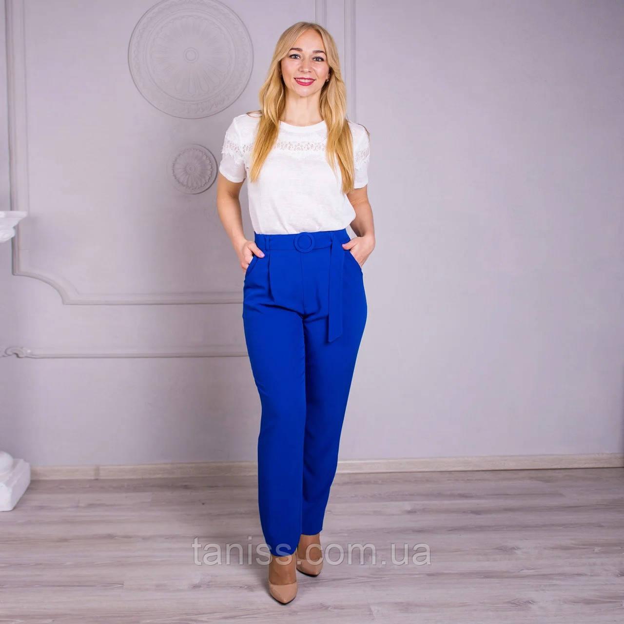 """Женские летние брюки """"Яна, ткань костюмный стрейч, размеры 46,48,50,52,54,56, электрик, брюки"""
