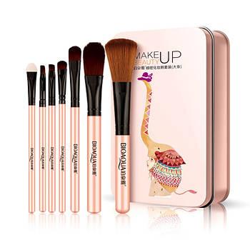Набор кистей BIOAQUA Make UP Beauty Слон Розовый в металлическом футляре 7 шт для макияжа мейкапа