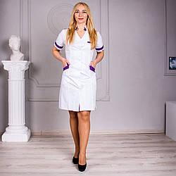 Медицинский халат белый с фиолетовыми втавками Анна