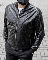 Мужская куртка бомбер в Ромбик из кож зама чёрная