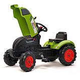 Трактор детский педальный Falk 2041C Claas Arion с прицепом, фото 6