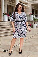 Платье прямого кроя в цветочный принт, ткань супер-софт. Р-р.50-52,54-56,58-60 Код 6501Е