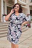 Платье прямого кроя в цветочный принт, ткань супер-софт. Р-р.50-52,54-56,58-60 Код 6501Е, фото 3