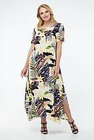 Летнее платье из штапеля для полных свободное с рисунком