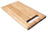Дошка кухонна дерев'яна прямокутна з ручкою Energy Wood 35х20х2см черешня, фото 3