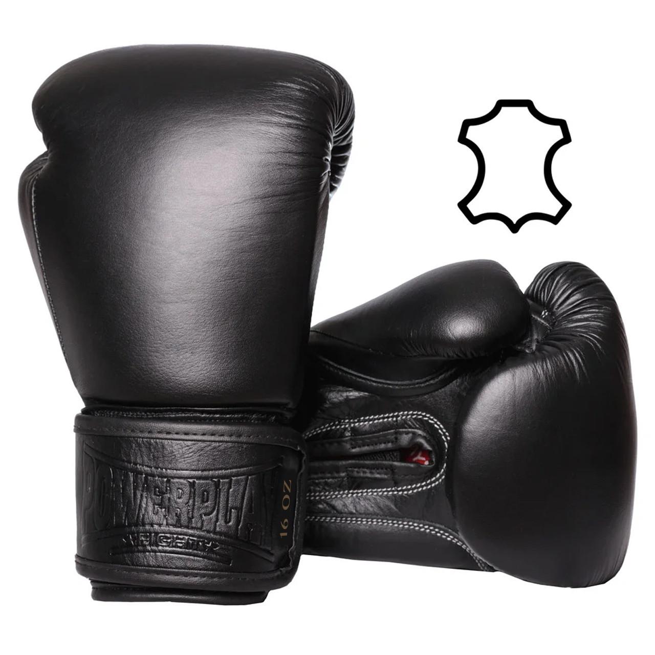 Боксерські рукавиці PowerPlay 3014 Чорні [натуральна шкіра] 16 унцій