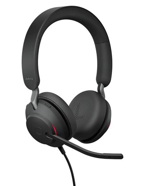 Проводная офисная гарнитура для звонков, конференц связи и музыки Jabra Evolve2 40 MS Stereo Black (USB-TypeA)