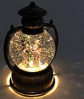 """Декоративний новорічний ліхтар круглий """"Сніговики"""""""