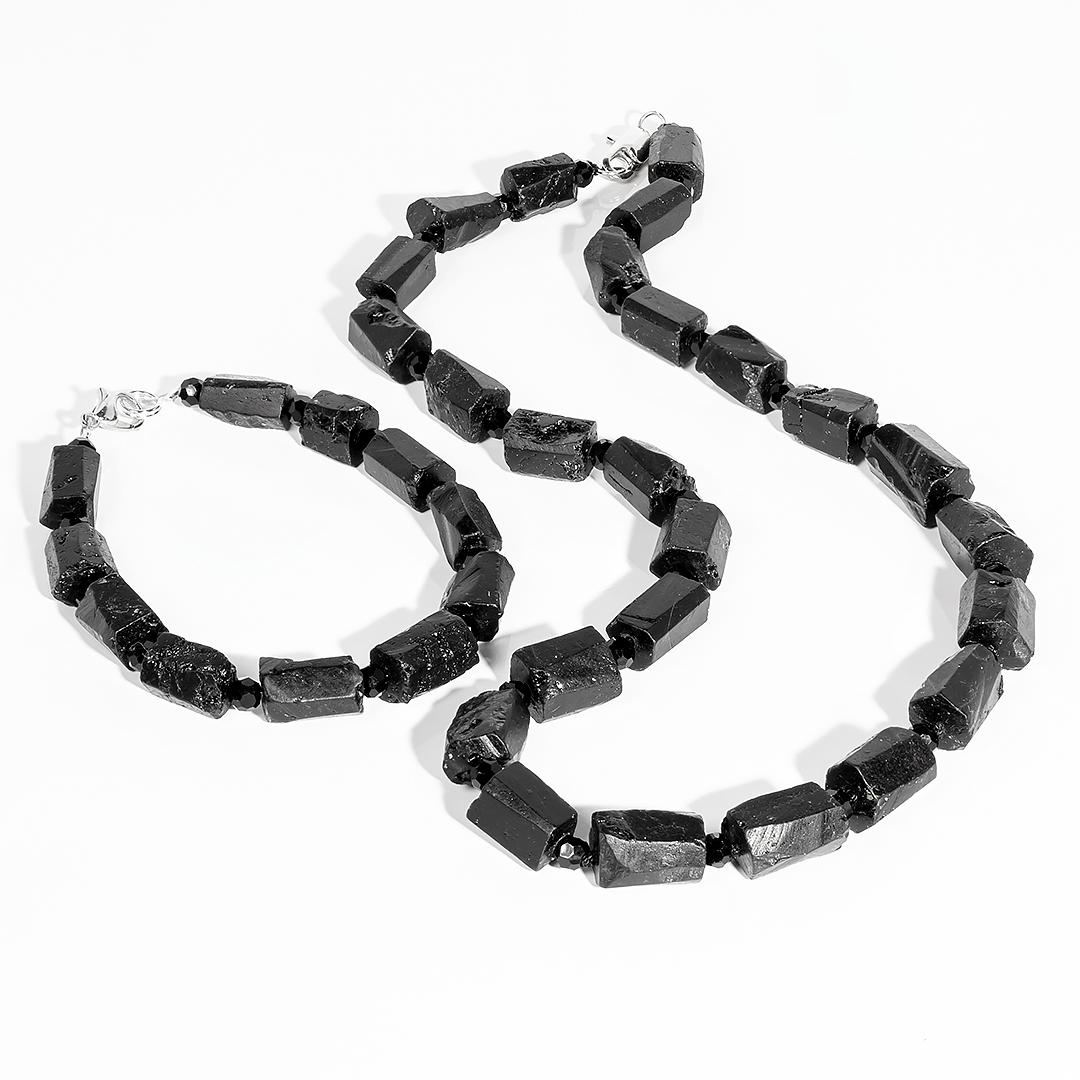Комплект браслет и бусы из турмалина Эльбаит, 062НШ