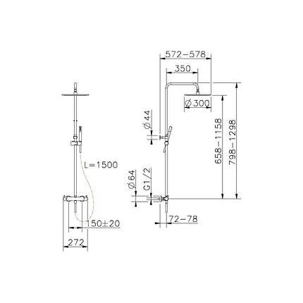Термостатична душова система, чорний матовий  15020140B ART  Devit, фото 2