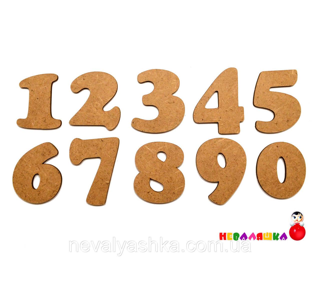 Деревянная Заготовка для Бизиборда Цифры МДФ (БЕЗ ПОДЛОЖКИ) Набор Цифр 0-9 дерев'яні цифри цифра