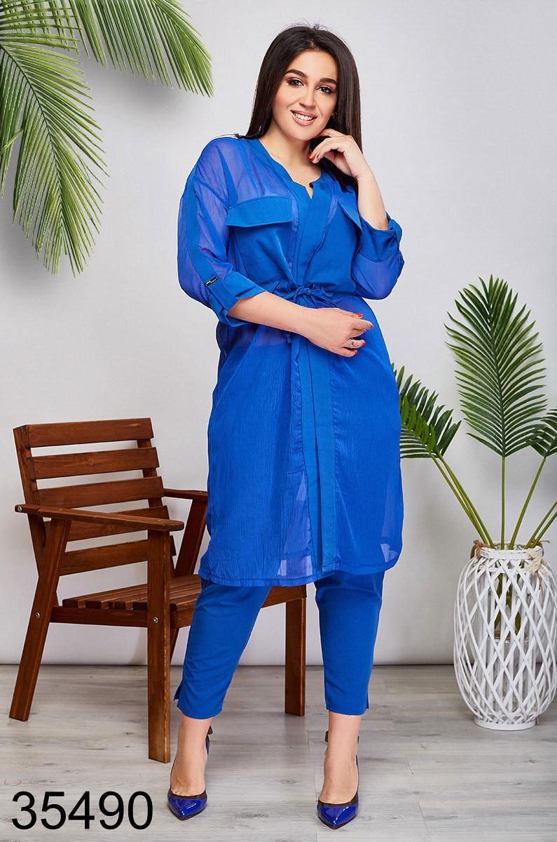 Женский стильный костюм брюки + блузка на запах р. 48-50, 52-54,56-58,60-62