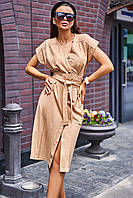 Льняное летнее платье в стиле Сафари с пуговицами и поясом (Вайли jd)