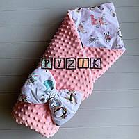 Конверт-одеяло минки на съемном синтепоне розовый Лесные звери
