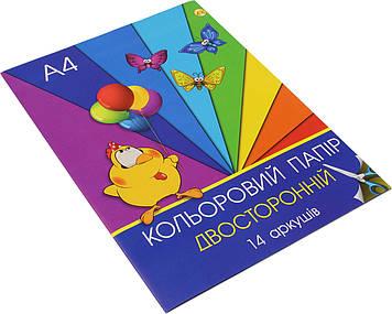 Набір кольор. паперу А4 двостор. 14арк./Тетрада/(20)(80)