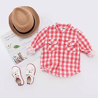 Легкая летняя рубашка в клеточку для мальчиков красного цвета, арт. - 38119 Акция! Последний размер:  130см