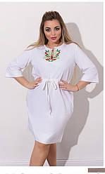 Льняное платье-туника с вышивкой (42-64), Женское льняное платье с коротким рукавом, Женское льняное платье, Платье с вышивкой батал, Летнее льняное