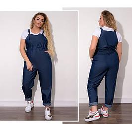 Женский джинсовый комбинезон (46-64), Стильный женский летний джинсовый брючный комбинезон батал на брительках,