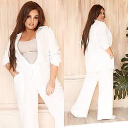 Костюм летний брючный большого размера, Женские костюмы больших размеров, Летний костюм женский большого размера