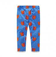 Штани из чистого хлопка с рисунком белки для девочек голубой цвета, арт. - 40880 , Total SALE -40% OFF : 2T,3T,4T,5T,7T