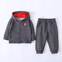 Комплект спортивной одежды, штаны+кофта с капюшоном для мальчиков серого цвета -40% Off: 100см,70см