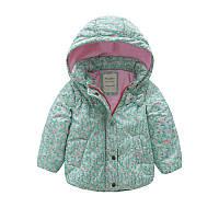 Детская теплая куртка Meanbear для девочек бирюзового цвета, арт. - 40694 , Скидка -12% : 110см,130см,140см,90см