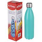 Термос пляшка питний A-PLUS 750 мл нержавійка бірюзовий перламутр, фото 3